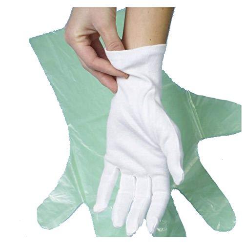Baumwollhandschuhe weiß Größe M/L/XL/XXL - Polierhandschuhe Unterziehhandschuh Eindeckhandschuhe Confiserie-, Gastronomie-, Catering-Handschuhe, Karneval-Handschuhe (12 Paar M)