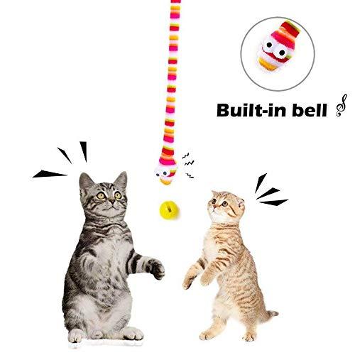 Linashop Katzenspielzeug, Haustierbedarf Haustier Katze Spielzeug kreatives Spielzeug Schlange pet Spielset Regenbogen Farbiger lustigen Katze-Stick (Size : Two Sticks)