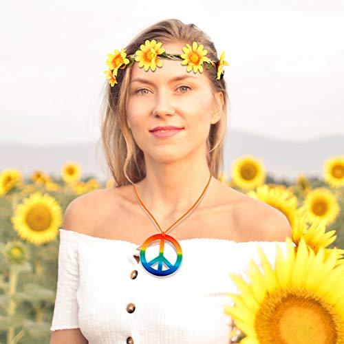 El Juego de Disfraz de Hippie de 24 Piezas Incluye Gafas Redondas ...