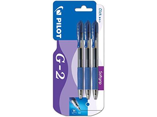 Pilot G2 - Bolígrafo roller retractable (tinta de gel, 3 unidades), color azul