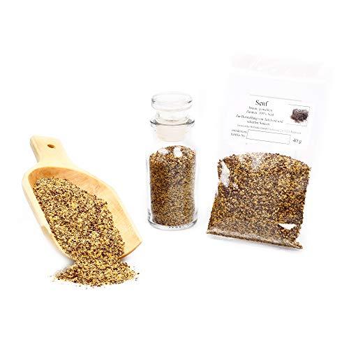 Senf braun, Senf Samen, Senfsaat gemahlen, braune Senfkörner dunkel, Senfpulver, Mustard Powder, glutenfrei, 40g