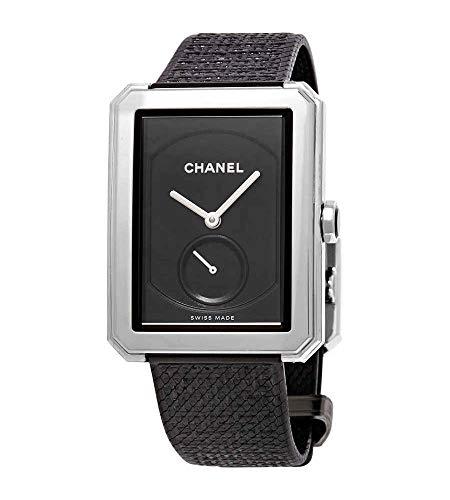Chanel Boy-Friend nero Guilloche quadrante Ladies mano Wound Watch H5201