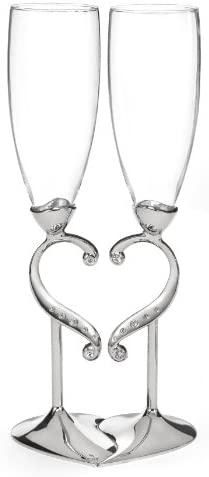 Hortense B. Hewitt Linked Love Champagne Toasting Flutes, 10.5-Inches Tall