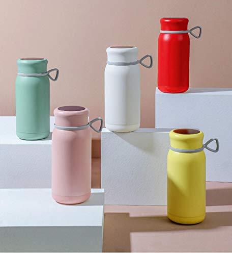Yumanluo Botella Reutilizable para niños,La Taza del termostato Inteligente se Puede Calentar y Mantener en Amarillo cálido,Aislamiento de Vacío de Doble Pared