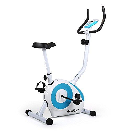 Klarfit Mobi-Fx-250 Bicicleta Fija Bicicleta Estática Bicicleta de Cardio Computadora de Entrenamiento Medidor de Pulso de Mano Integrado Máx. 100Kg de Peso Corporal Blanco-Azul