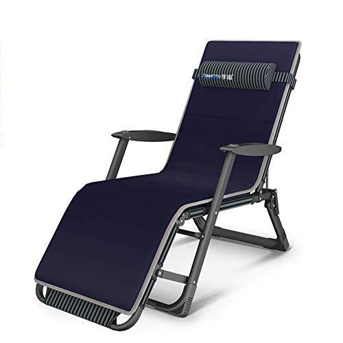 Tumbona, tumbona, cama plegable Silla de descanso, silla de playa para adultos, ajuste de respaldo de 5 posiciones con almohadilla de algodón extraíble Asientos al aire libre hko/Azul