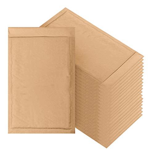 Natural Kraft Bubble mailers 7.25 x 11 Brown Padded envelopes 7 1/4 x 11 by Amiff. Pack of 20 Kraft Paper Cushion envelopes. Exterior Size 8 x 12 (8x12). Peel and Seal. Mailing, Shipping.