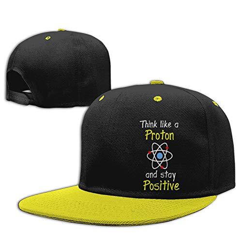Labels4school Gorra de béisbol ajustable Think Like A Proton Chemistry Science para niños y niñas de 6 a 12 años, color amarillo