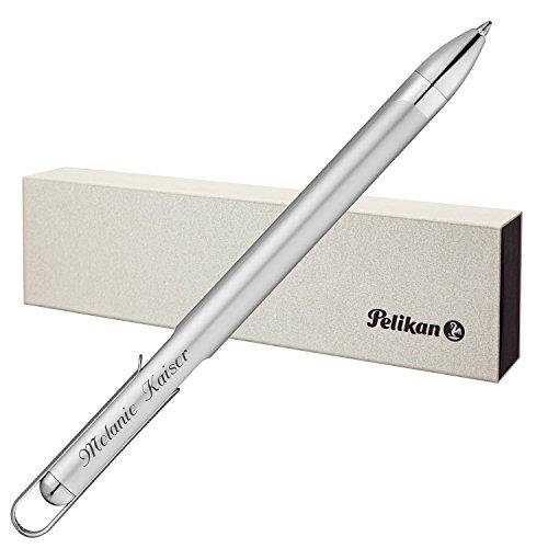 Pelikan Kugelschreiber VIO Silber mit persönlicher Laser-Gravur mattiert aus Aluminium mit Hochglanz verchromten Metallbeschlägen