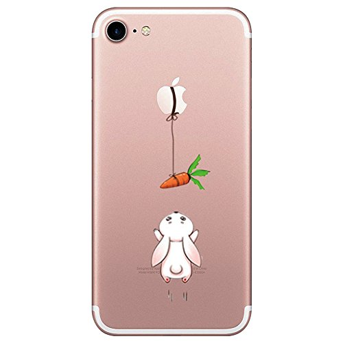 iPhone 7 Hülle, durchsichtiges TPU Hülle Silikon der Tiere Backcover Handyhülle kreatives Design Panda Muster Bedecken zurück für Apple iPhone 7 Hülle Cover (Rettich Kaninchen)