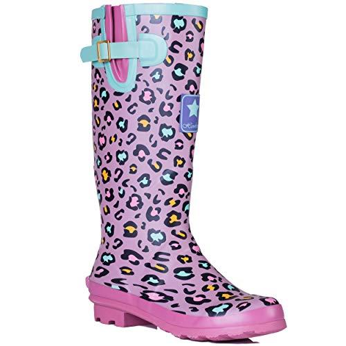 SPYLOVEBUY IGLOO Damen Verstellbare Schnalle Flache Fest Gummistiefel Regenstiefel, Pink Leopard, 40 EU