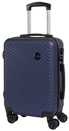 CABIN GO MAX 5508 Valigia Trolley ABS, bagaglio a mano 55x37x20, Valigia rigida, guscio duro e antigraffio con 8 ruote, Ideale a bordo di Ryanair, Alitalia, Air Italy, easyJet, Lufthansa DARK BLU
