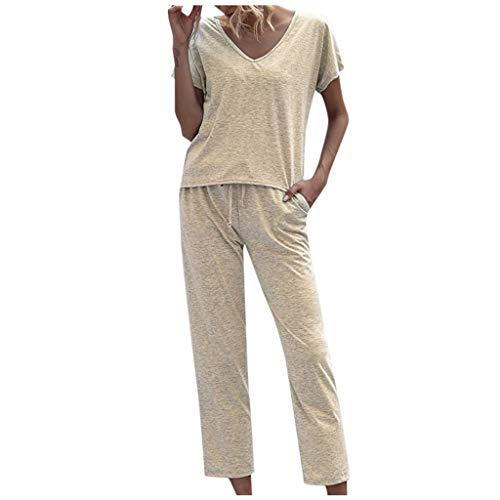 Damen Sommer 2 Stück Trainingsanzug Top Bottoms Loungewear Sweatshirt O-Ausschnitt Kurzarmhose Solid Casual Loose Outfits