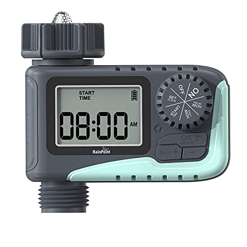 RAINPOINT Sprinkler Timer,Water Timer Programmable Garden Outdoor Hose Feature Timer with Rain Delay/Manual/Automatic Watering System,Waterproof Digital Irrigation Timer System for Lawns Pool,1 Outlet