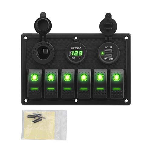 XIAOSHI Little Oriental Panel de interruptores de balancín 4.2A Dual USB Slot Socket Impermeable Voltaje Digital Pantalla con Fusible (Color : Green(6 Gang))