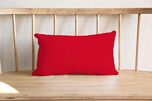 Almohada lumbar reversible de color rojo y negro, con tacto de lino, elegante ropa de cama Rotic, manta urbana de doble cara