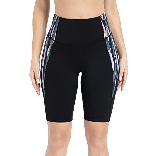 TYUIO Hohe Taille Yoga-Shorts mit Taschen für Frauen Kompression Laufen Kurze Leggings - Schwarz - Mittel