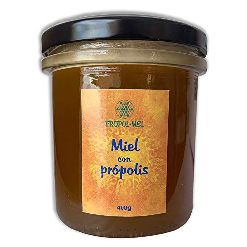 Miel con Propoleo x 400 g. Miel natural con aroma floral, pura y sin pasteurizar. Miel de mil flores con propolis que mejora las defensas y con propiedades antivirales naturales.