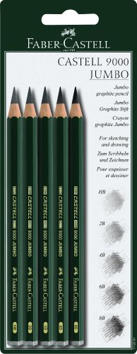 Faber-Castell 5 Piece Quality Castell 9000 Jumbo Graphite Pencils Blister Card Set, Including HB, 2B, 4B, 6B and 8B (119397)