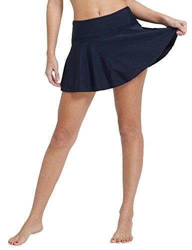 "BALEAF Women's Swim Skirt Skort High Waisted Bikini Tankini Bottoms Swimsuit Bathing Suit Navy (add 1.97"" in Waist-high) L"