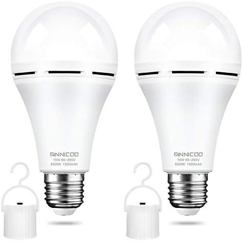 LED Emergency Light Bulb Pack of 2 Battery Backup Warm 3000K White 1200mAh with Hook Switch product image