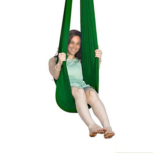 ZCXBHD Columpio de terapia sensorial para niños con carga de 200 kg de malla transpirable hamaca ajustable para autismo TDAH Asperger (color: verde, tamaño: 100 x 280 cm)