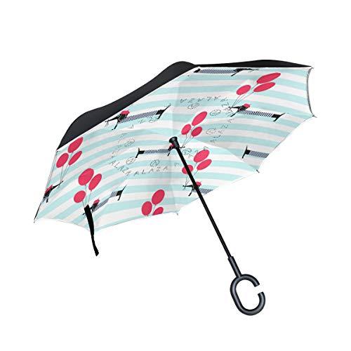 Ahomy Regenschirm, umgekehrter Regenschirm, französischer Hunde-Luftballon, groß, doppelt, Winddicht, Regenschutz fürs Auto, Rückwärtsschirme mit C-förmigem Griff