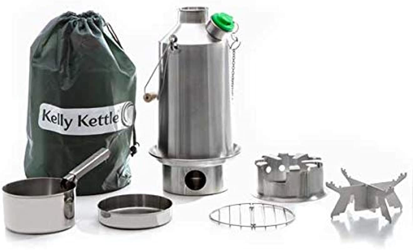 Base Camp 54 Oz Anodized Aluminum Kelly Kettle Basic Kit 1 6 Ltr Rocket Stove Boils Water Ultra Fast With Just Sticks Twigs For Camping Fishing Scouts Hunting Emergencies Hurricanes Tornados