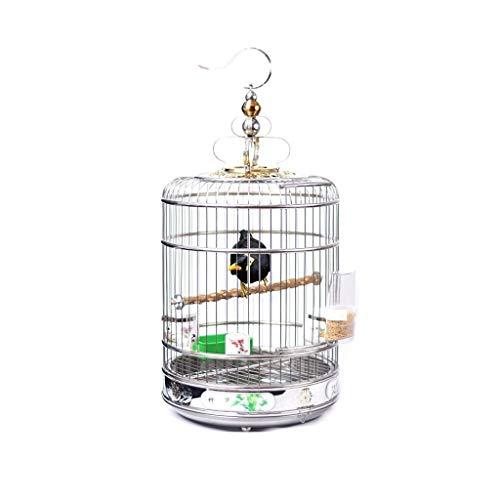 SSG Home La Jaula de pájaro de Interior y Exterior Nest Ornamental pájaro Jaula de Acero Inoxidable Creativo decoración pequeña Ave Suministros Cría de Mascotas (Color : L)