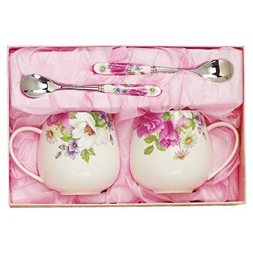 HRDZ Taza de cerámica Creativa Juego de Tazas de Regalo para Parejas Cuchara en Forma de corazón de Arco Iris Leche Café Taza de té