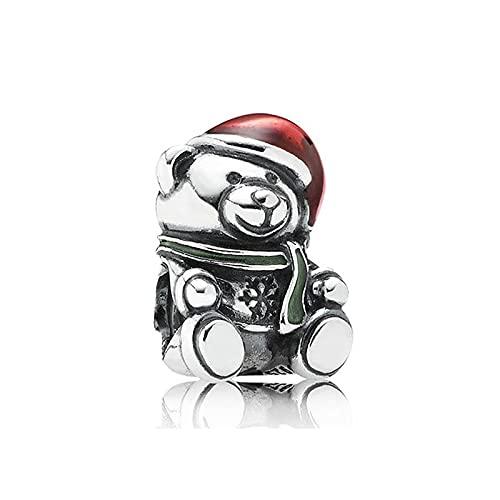 Colgante De Plata De Ley 925, Abalorio De Oso De Peluche De Navidad, Pulsera Pandora De Moda Para Mujer, Brazalete, Joyería Diy, Regalo De Cumpleaños