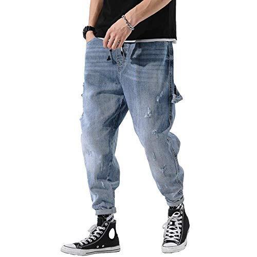 Xqkj Baggy Jeans de moda de pierna pequeña para hombre pantalones vaqueros con cordones Harlem, azul claro, 2XL (36)