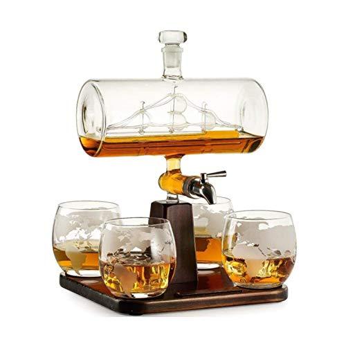 Decantador De Whisky con Barco Antiguo - Juego De Decantador De Barco The Wine Savant con 4 Vasos De Globo, Dispensador De Bebidas para Vino, Decantador De Whisky Licor