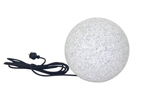 Trango IP65 LED Gartenkugel in Granit-Optik 30cm Durchmesser TG300GB inkl.1x E27 4-7 Watt LED & 5m Outdoorkabel I Kugelleuchte I Außenlampe