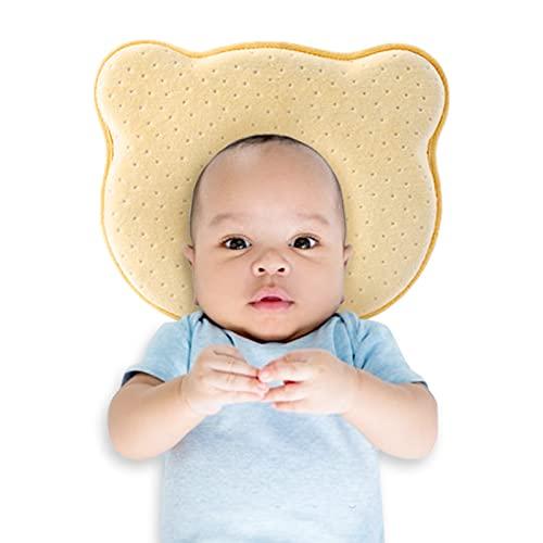 Almohada bebé Cojín para bebés para bebé recién Nacido Cojín de cojín Que Forma el cojín del bebé contra el Amortiguador del bebé Plagiozezfalía Almacén Almohada para El Cojín De Bebé Niños, Amarillo