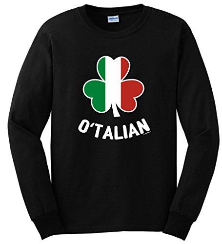 Funny St Patricks Day Shirt Men O'Talian Italian Pride Irish Funny St Patricks Long Sleeve T-Shirt Medium Black