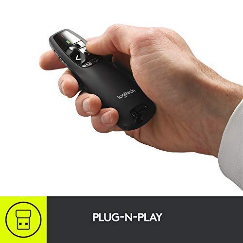 Logitech R400 Puntatore Laser per Presentazioni Wireless, 2.4 GHz e Bluetooth, Ricevitore USB, Puntatore Laser Rosso, Portata 15 m, 6 Pulsanti, Controllo Intuitivo, Indicatore Batteria, PC, Nero