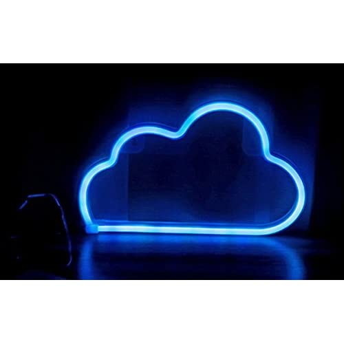 LED NEON CLOUD-BLUE LIGHT WALL DECOR REQUIRED 3 AA BATTERIES OR USB POWER, NIGHT INDOOR LIGHTS TABLE LAMP FOR PARTY,LIVING ROOM OR BEDROOM SET