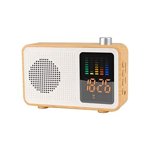 OPAKY MIABOO Retro Holz-Farb-Funk-Bluetooth-Lautsprecher-Radio mit Zeitanzeige für iPhone, Samsung usw.