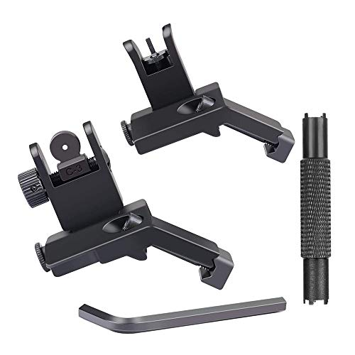 GVN 45 Degree New Tactical Iron Sights Rear Front Sight Mount Set Includes Front Sight Adjustment Tool   Rapid Transition Backup Front and Rear Iron Sight BUIS CQB for Weaver / Picatinny Rails