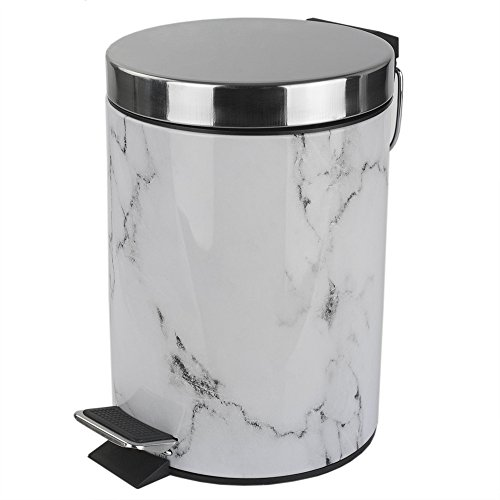 Home Basics White Faux Marble Bathroom Accessory (Garbage Can)