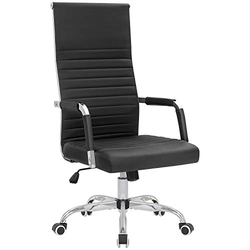 KaiMeng Ribbed Office Chair High Back PU Leather Desk Chair Adjustable Swivel Task Chair Computer Chair with Armrest for Conference Study Leisure (Black)