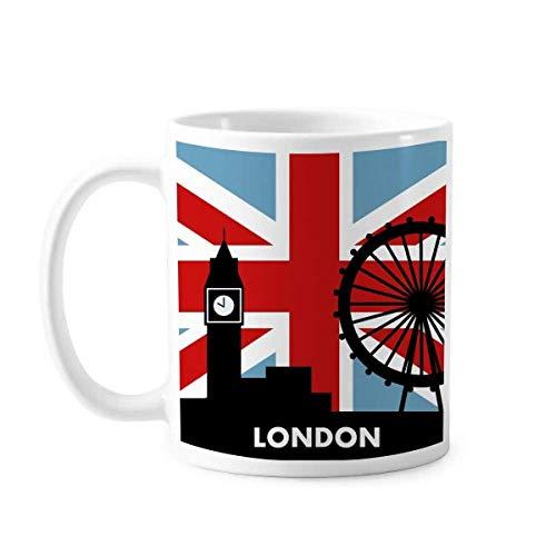 Britain Union Jack London Eye Big Ben Flag Reino Unido Caneca Cerâmica Café Porcelana Copo Mesa
