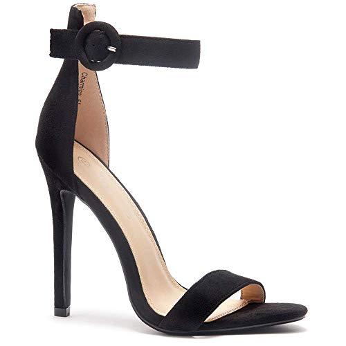 Herstyle Charming Women's Open Toe Ankle Strap Stiletto Heel Dress Sandals Elegant Wedding Party Shoes Black 8.0