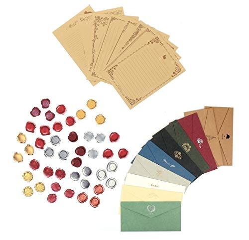 シール シーリングワックス スタンプ 風 45枚 & 封筒 10種 & 便箋 8種 レターセット レトロ 手紙