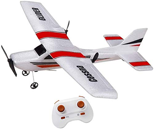 RC Plane 2.4Ghz 2 Channel RC Airplane Ready to Fly, RC Aircraft Builted in 6-Axis Gyro, Remote Control Airplane for Kids Boys EPP Beginner Glider Wingspan 355mm (Red)