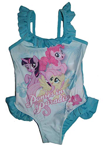 MLP Mädchen Badeanzug My Little Pony Kinder Bademode Pferd Badehose (türkis, 122-128)