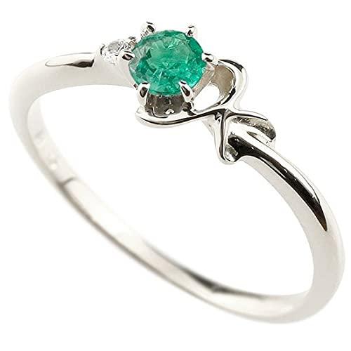 [アトラス]Atrus 指輪 レディース 10金 ホワイトゴールドk10 エメラルド ダイヤモンド イニシャル ネーム K ピンキーリング 華奢 アルファベット 5月誕生石 2号