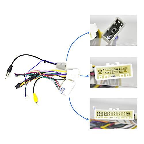 OiLiehu Android Car Radio 16 poliger Kabelbaum ISO Adapter Kabel Kabel mit für Nissan, ISO Standard Buchse mit Lenkrad Steuerleitungen und Kabelbaum für Rückwärts Steuerleitung
