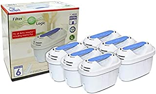 Filterlogic FL402E | Lot de 6 - Cartouche filtrante Compatible avec Brita Maxtra+ Plus Filtre à Eau pour Carafe fill&Enjoy...